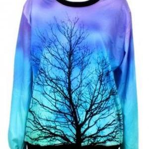 Blue Long Sleeve Moonlight Tree Pri..