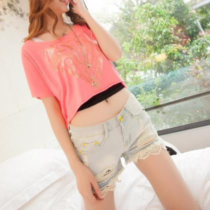Women's Lace Denim Shorts In Acid W..