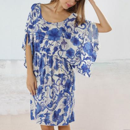 Oversized Blue Floral Print Batwing..