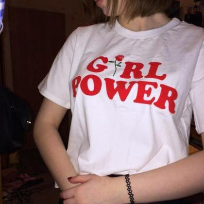 Girl Power Graphic Tee Featuring Ro..