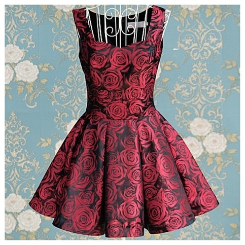Dark Red Rose Dress on Luulla