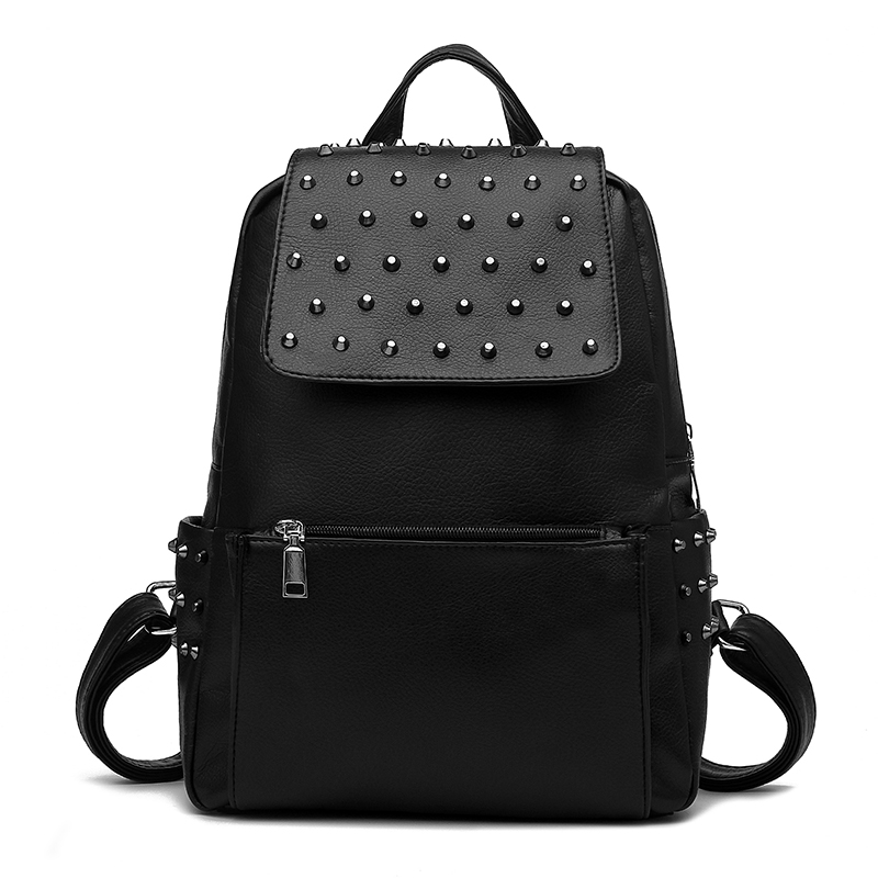 Rivet Shoulder Bag Female Leather Handbag Black Backpack
