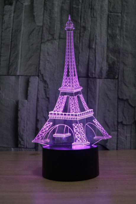 3D illusion eiffel tower table decorations LED desk lamp as gift free shipping