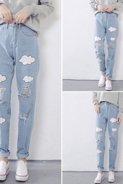 The clouds printed jeans