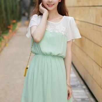 Vogue White And Green Color Blocking Skater Dress