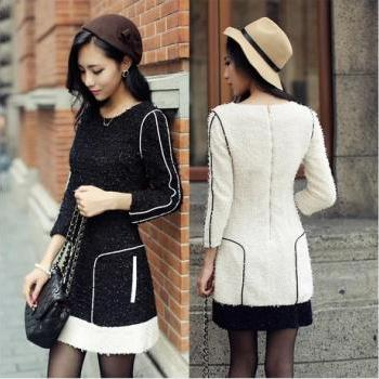 Black and white contrast color stitching 7 minutes of sleeve dress fashion