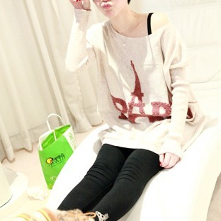 Loose Fitting Paris Eiffel Tower Print Knit Sweater - Apricot