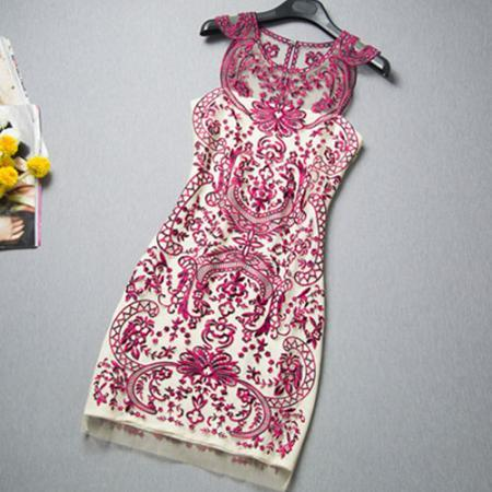 Celebrity Contrast Color Flowers Embroidery Sheer Tunic Tank Dress
