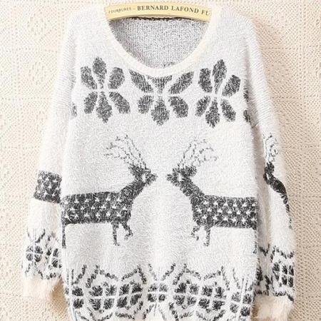 Beige Long Sleeve Ma Haimao Deer Sweater