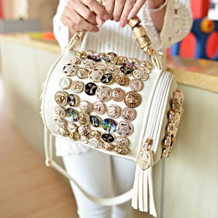 Unique Button Tassel Shoulder Bag&Handbag