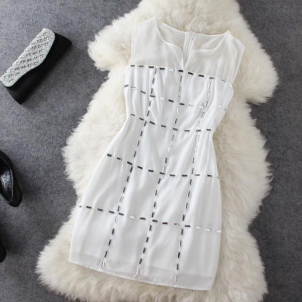 White Stitching Sleeveless Dress ED62646
