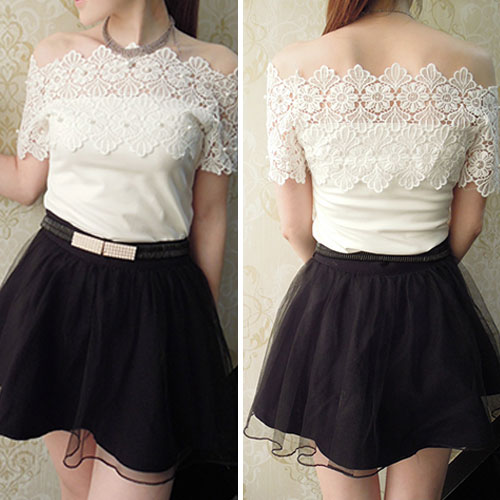 Sexy Slash Neck Off-Shoulder Pearls Crochet Lace Short-Sleeved T-Shirt