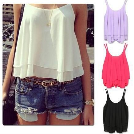 Summer Sexy Chiffon Halter Top European And American Women'S Double Sleeveless Chiffon Vest