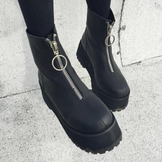 CYBER PUNK PLATFORM BOOTS WITH ZIP